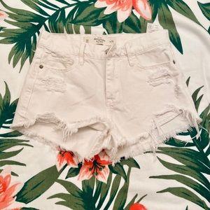 Abercrombie distressed white denim shorts